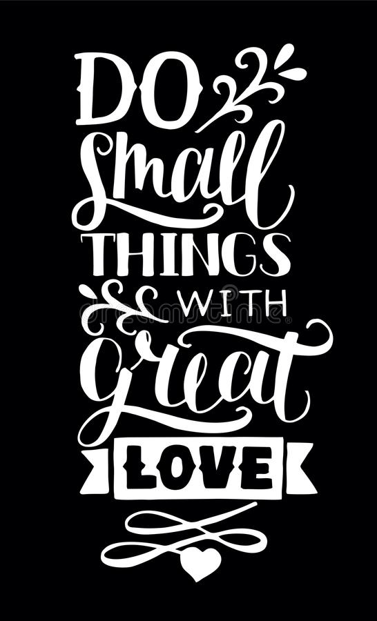 Christian Inspirational Quotes Black Background: Hand Lettering With Quotes Do Small Things With Great Love