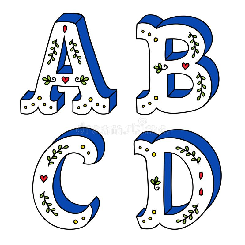 Hand lettering drawing set of cute letters with decorative ornaments royalty free illustration