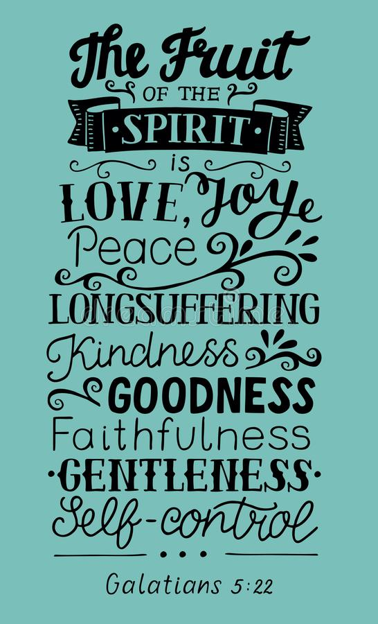 Hand lettering The fruit of the Spirit . Bible verse. Christian poster. New Testament. Galatians. Grapics royalty free illustration
