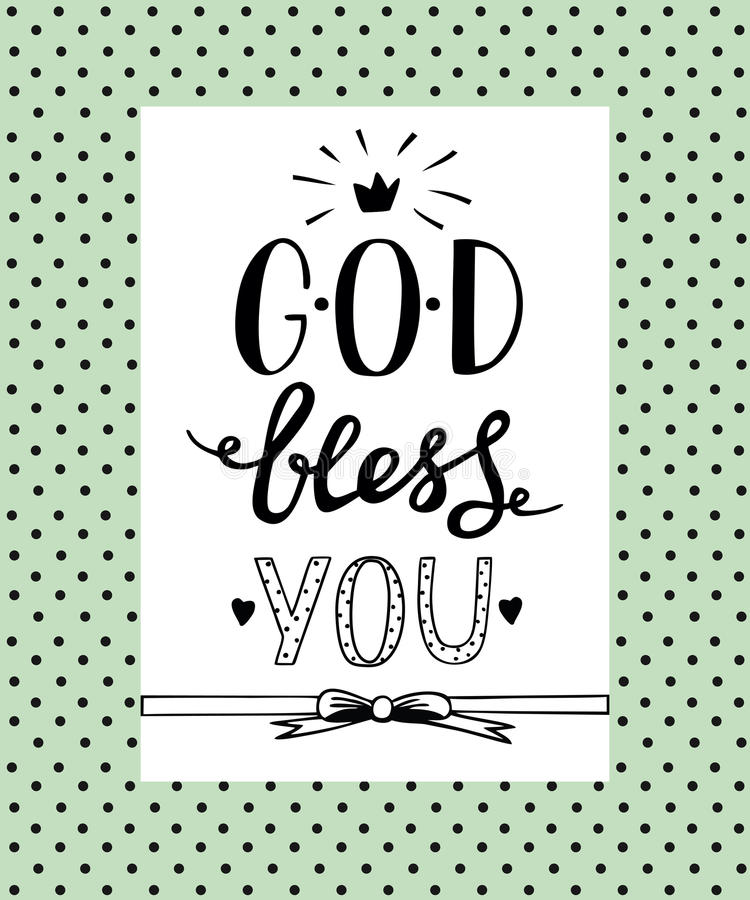 Hand lettering god bless you stock vector illustration