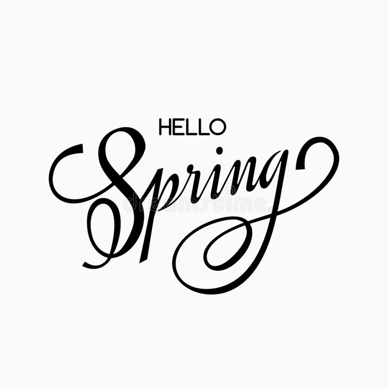 Hand lettering and greetings Hello Spring. Black lettering on a light background royalty free illustration
