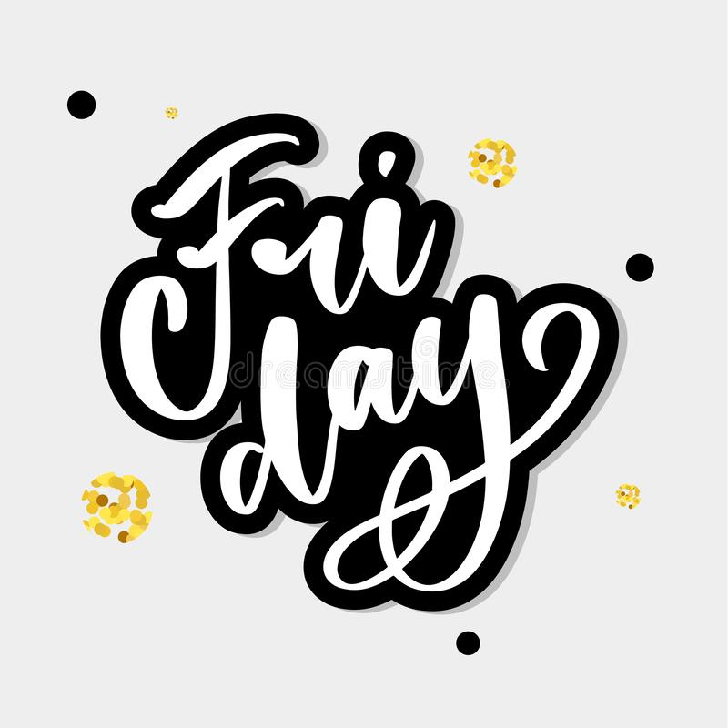 Hand lettering happy friday inscription isolated on white background. Vector illustration. Can be used for card design. Hand lettering happy friday inscription stock illustration