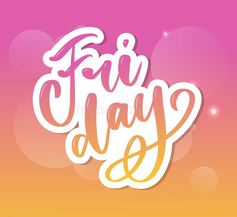 Hand lettering happy friday inscription isolated on white background. Vector illustration. Can be used for card design. Hand lettering happy friday inscription vector illustration