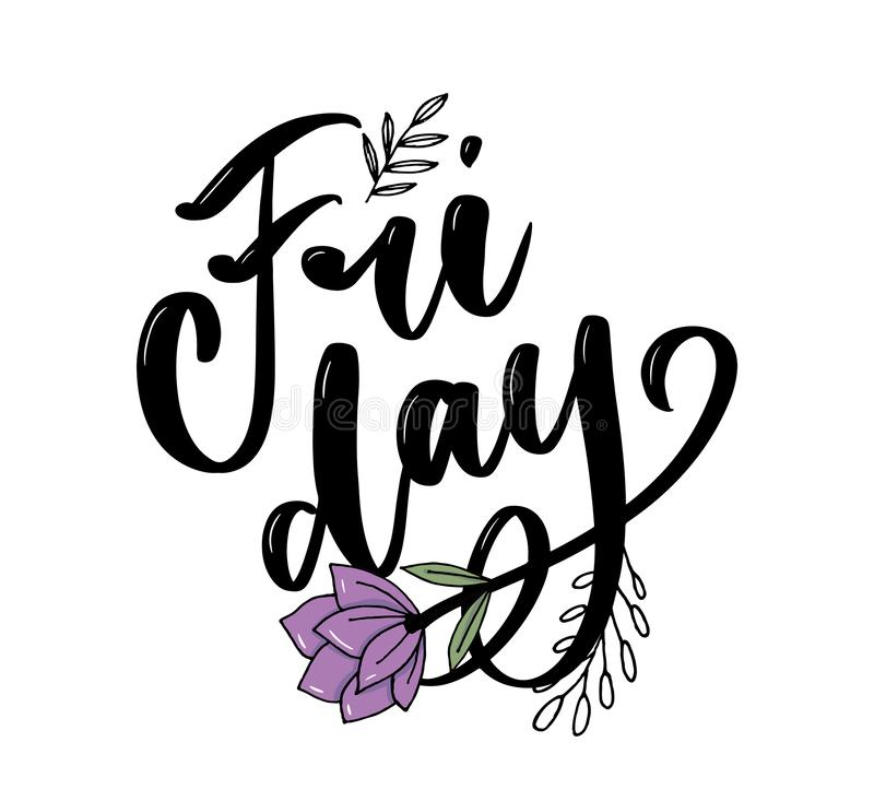 Hand lettering happy friday inscription isolated on white background. Vector illustration. Can be used for card design. Hand lettering happy friday inscription royalty free illustration