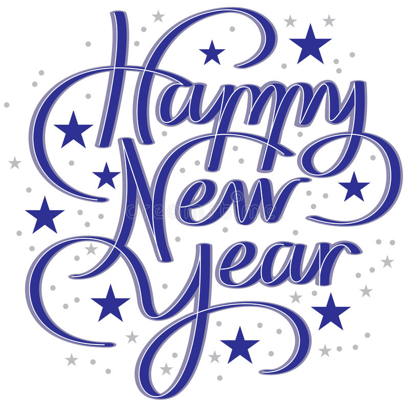 Hand Lettering Happy New Year Stock Vector - Illustration ...