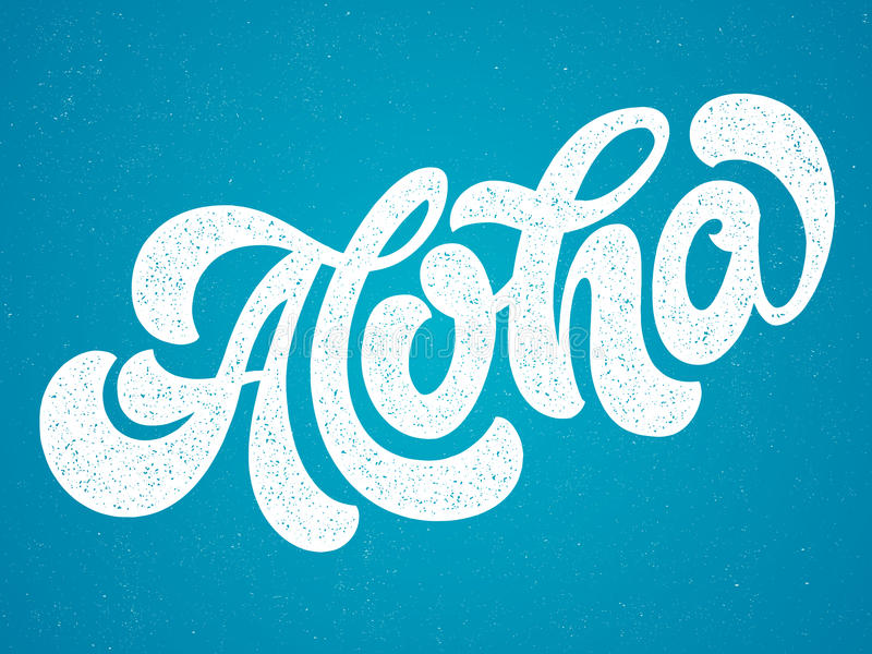 Hand lettering illustration. Aloha. royalty free stock photography