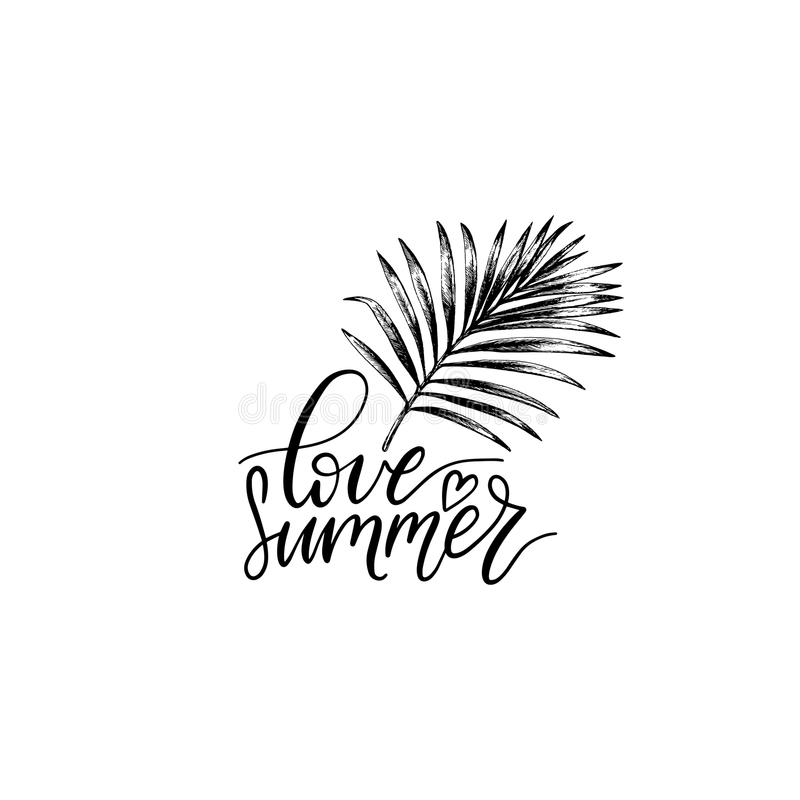 Hand lettering inspirational poster with quote Love Summer. Vector tropical palm leaf illustration. stock illustration