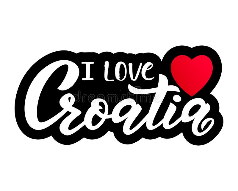 Hand lettering modern calligraphy phrase i love Croatia with heart. Vector vector illustration