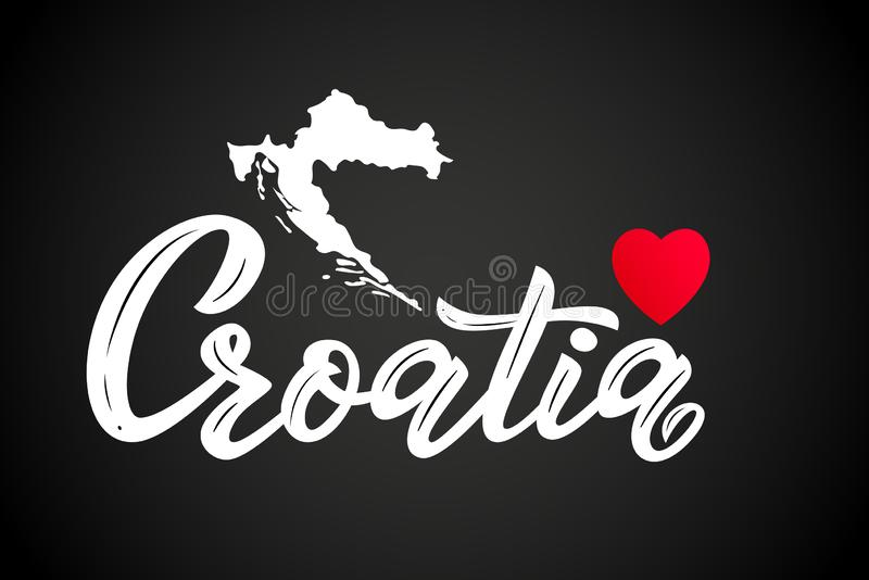 Hand lettering modern calligraphy word Croatia with heart and map.Vector royalty free illustration