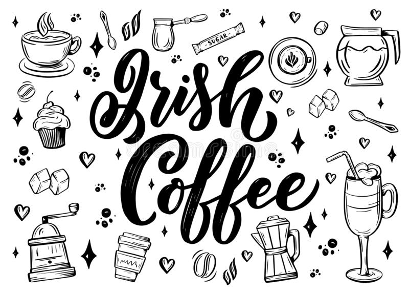 Hand lettering name of coffee with sketch for coffee shop or cafe. Hand drawn vintage typography phrase, isolated on stock illustration