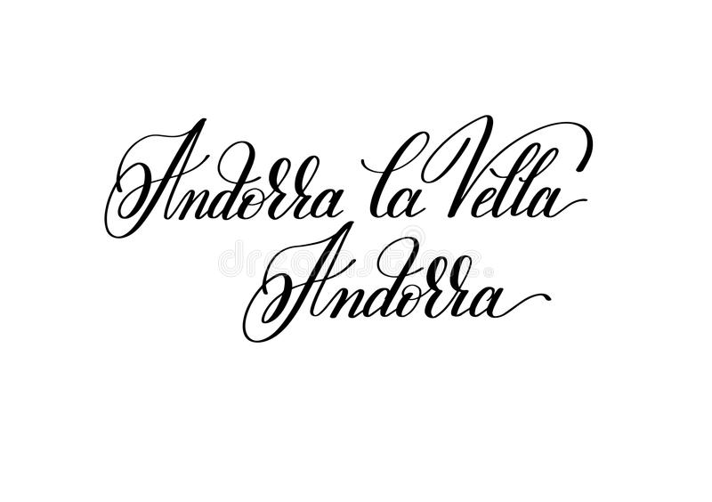 hand lettering the name of the European capital - Andorra la Vel vector illustration