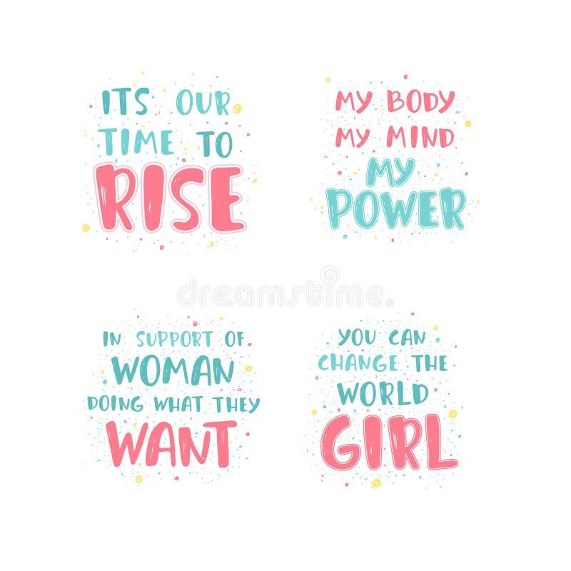 Feminist lettering quote vector illustration