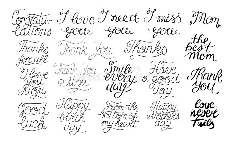 19 hand-lettering quotes I love you, Happy birthday, Thank you, The best mom, Congratulations. stock illustration