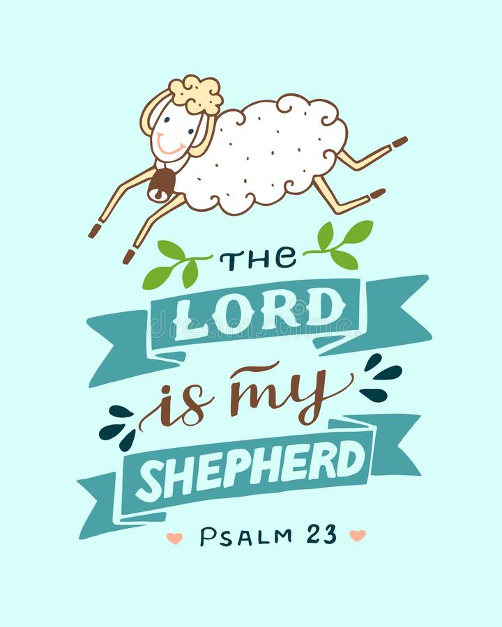 Hand lettering with sheep The Lord is my shepherd. Hand lettering The Lord is my shepherd with sheep. Biblical background. Christian poster. Baby card. Quote stock illustration