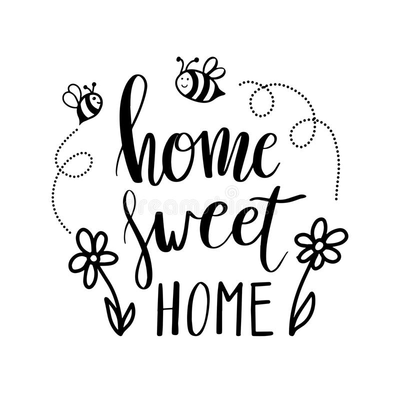 Hand lettering typography poster.Calligraphic quote Home sweet home.For housewarming posters, greeting cards, home stock illustration