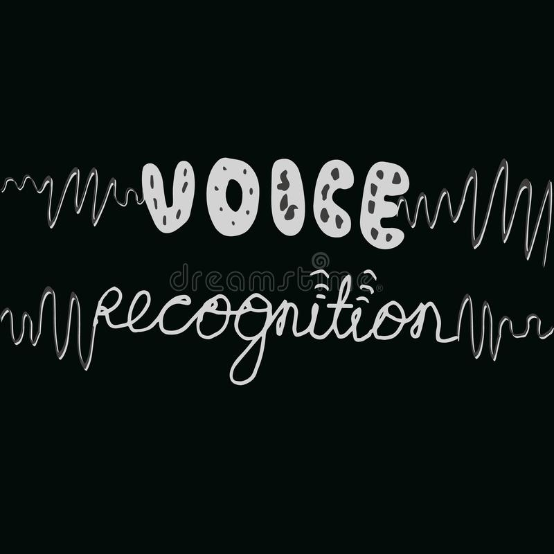 Hand lettering voice recognition with sound waves. Voice recognition hand written phrase on black background plus sound waves vector illustration