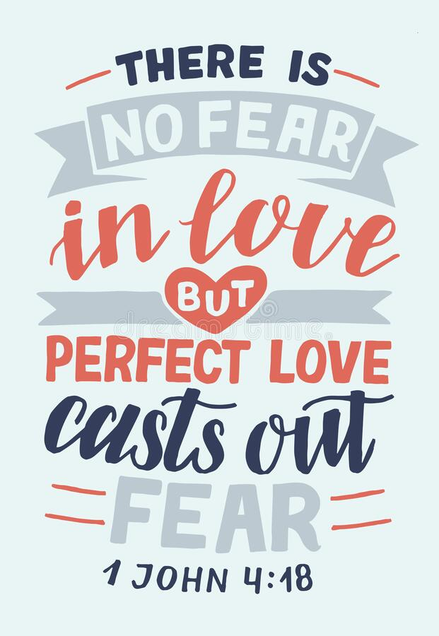 Free Hand Lettering With Bible Verse There Is No Fear In Love Stock Photo - 181356570