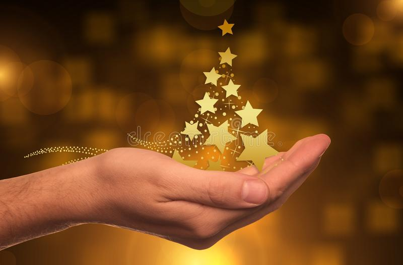 Hand, Lighting, Christmas, Gold stock photos