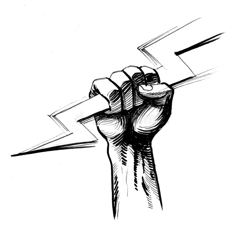 Hand with a lightning bolt. Retro styled illustration of a hand holding a lightning bolt stock illustration