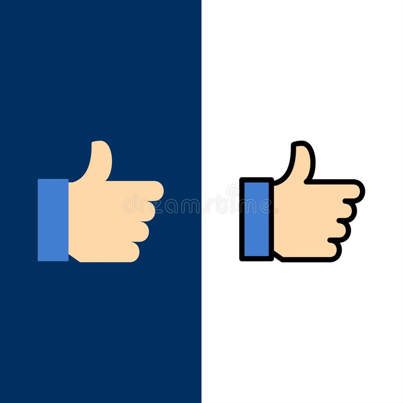 Hand, Like, Vote, Love  Icons. Flat and Line Filled Icon Set Vector Blue Background stock illustration