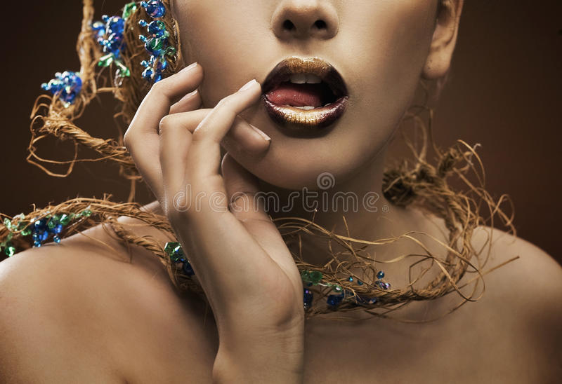 Hand and lips stock image
