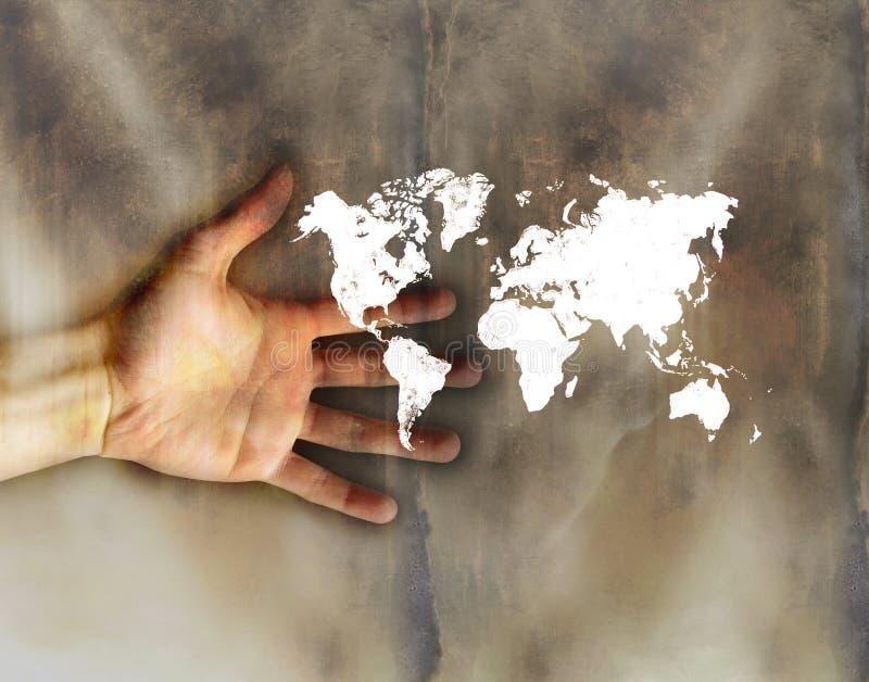 hand little värld stock illustrationer