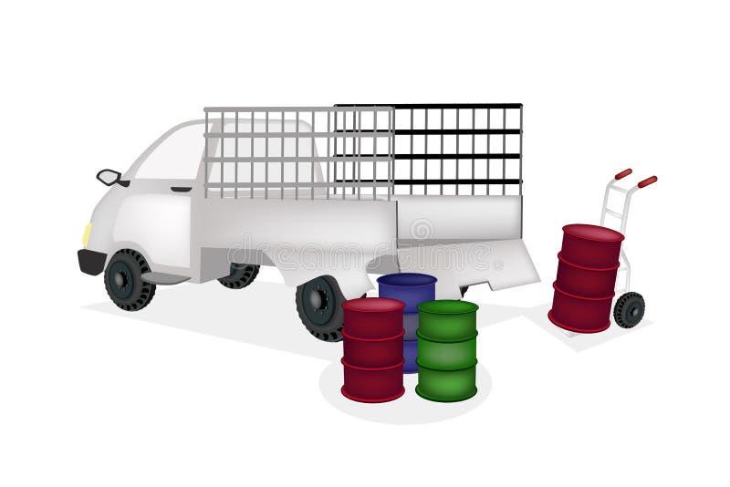 Hand-LKW-Laden-Ölbarrel in Kleintransporter stock abbildung
