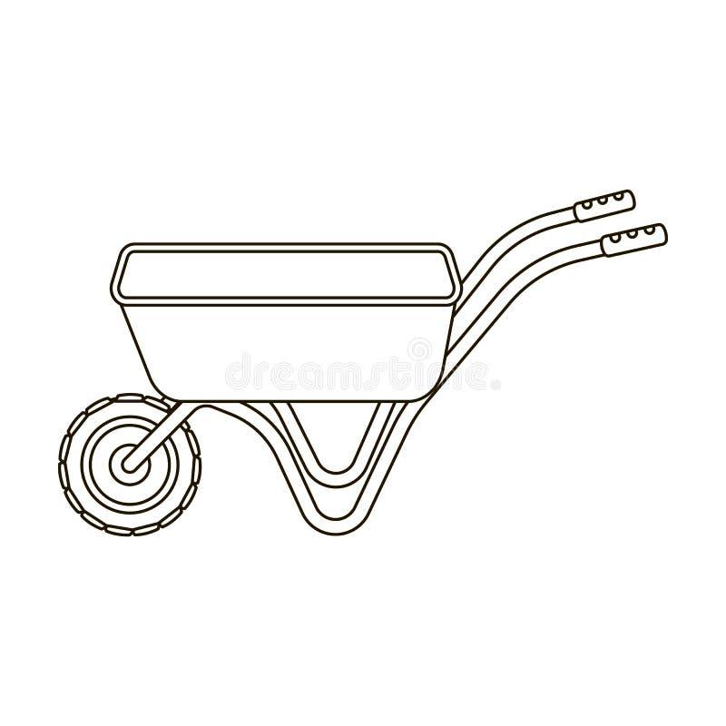 Hand-LKW mit einem Rad Schubkarre für den Transport von Waren um den Garten Bauernhof und im Garten arbeitende einzelne Ikone vektor abbildung