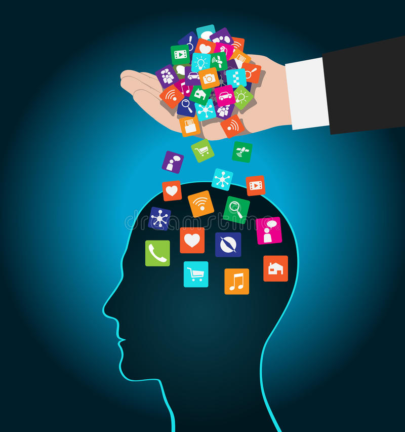 Hand loads icons head. Mobile apps installed into the brain, replacing the mind royalty free illustration