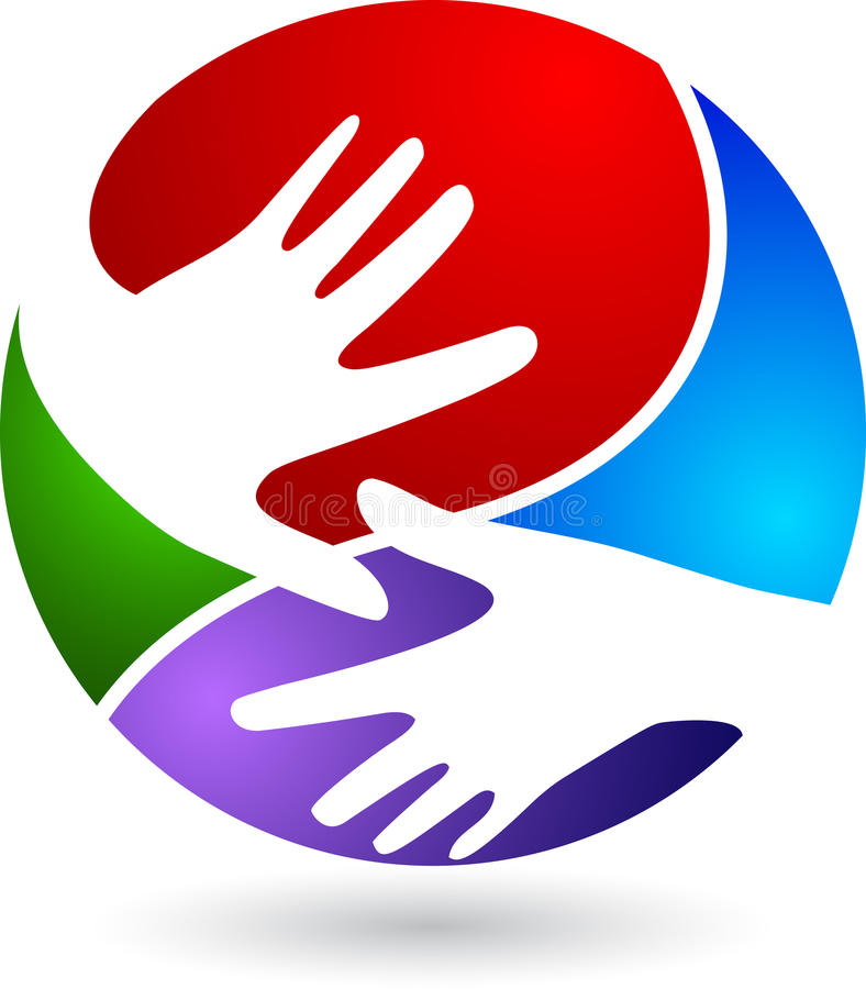Hand logo. Illustration art of a hand logo with background stock illustration