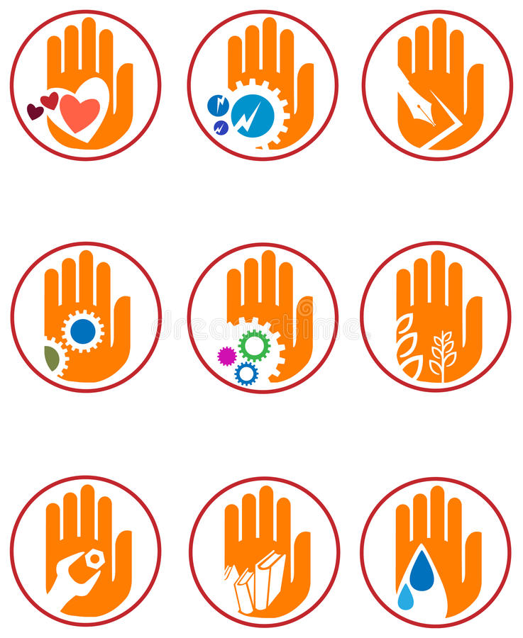 Hand logo set stock illustration