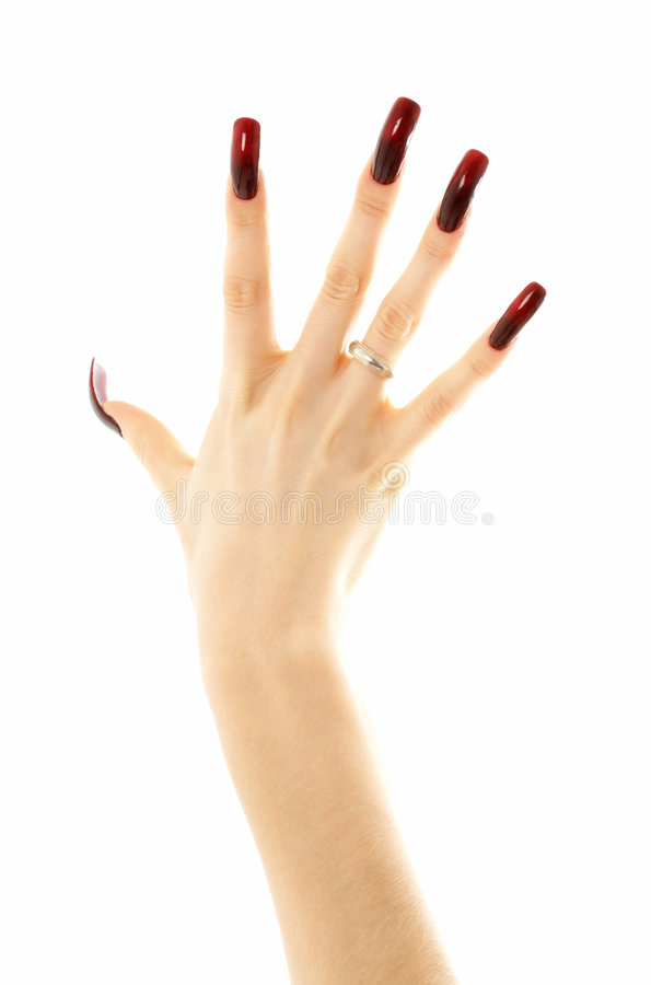 Hand With Long Acrylic Nails Stock Image - Image of isolated ...