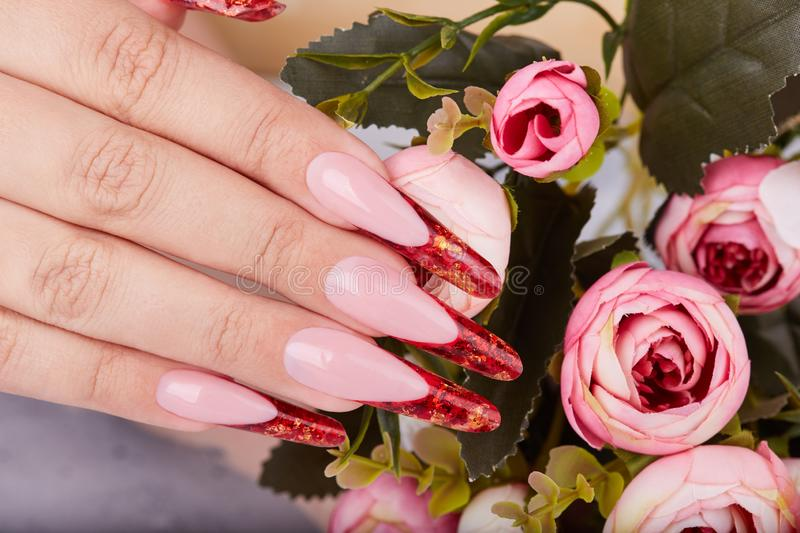 Hand with long red artificial french manicured nails stock images
