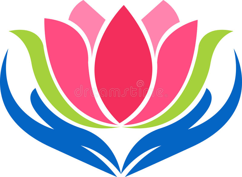 Hand lotus logo. Illustration art of a hand lotus logo with isolated background