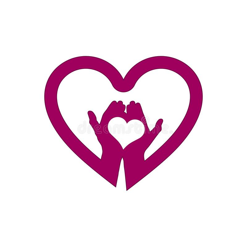 Hand with love in heart icon logo stock illustration