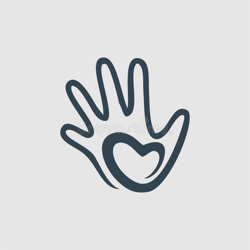 Hand love monogram logo inspiration royalty free illustration