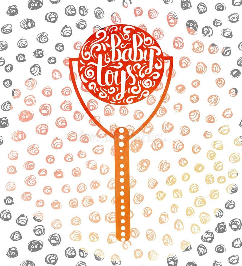 Hand-märkt färgrika barns för affischadvertizing leksaker stock illustrationer