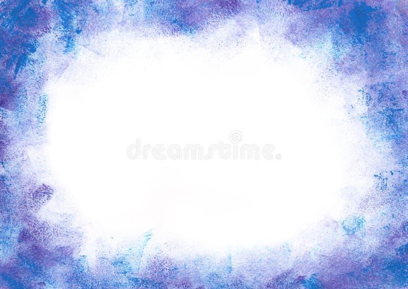 Hand målad akryl gouache vattenfärg abstrakt vinter frostigt blå lila ramkant med tomt tomt blanksteg för text royaltyfri illustrationer