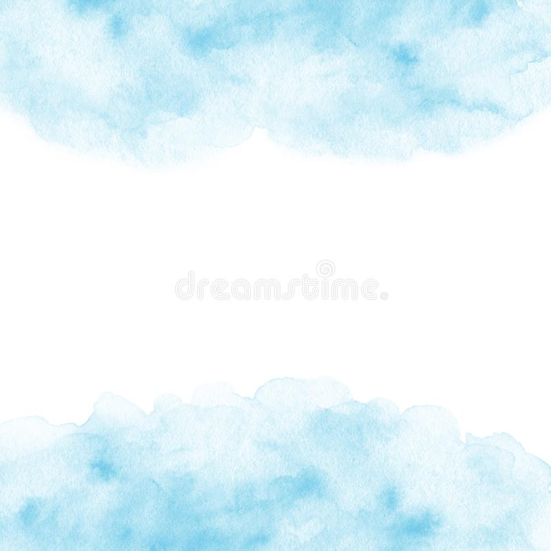 Hand målad blå vattenfärgramtextur på den vita bakgrunden gränsmall royaltyfri illustrationer