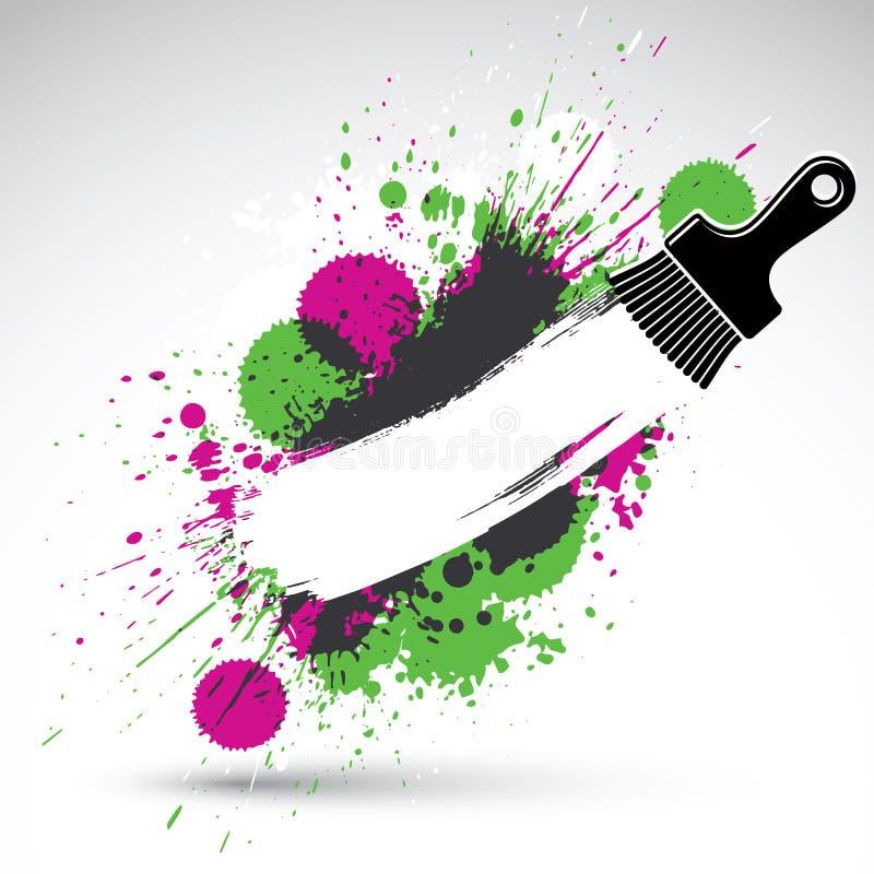 Hand-målad dekorativ grungebakgrund som göras med fläckborsten stock illustrationer