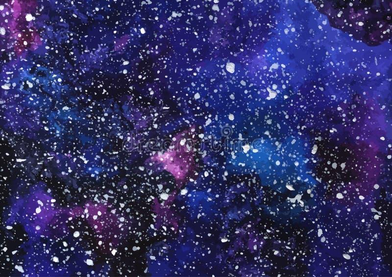 Hand målad kosmisk textur för vattenfärg med stjärnor stock illustrationer