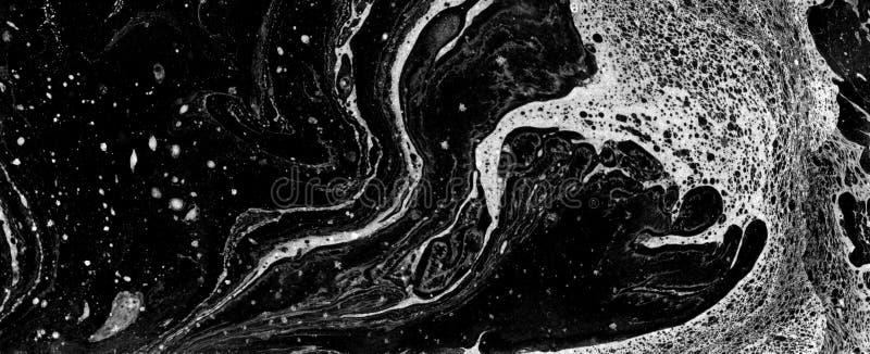 Hand målad marmortextur Härlig monokrom konst för blandat massmedia royaltyfri fotografi