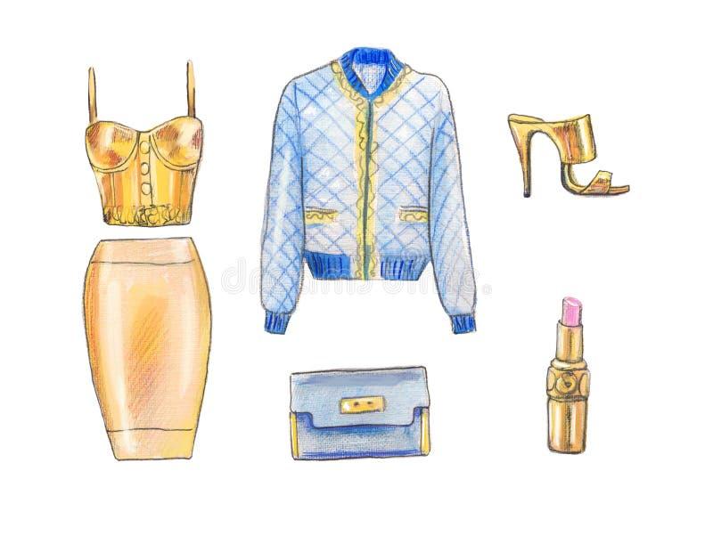 Hand målad modeillustration Dana uppsättningen av tillbehör och material för nedgången, modebegrepp Retro tappningstil royaltyfri illustrationer