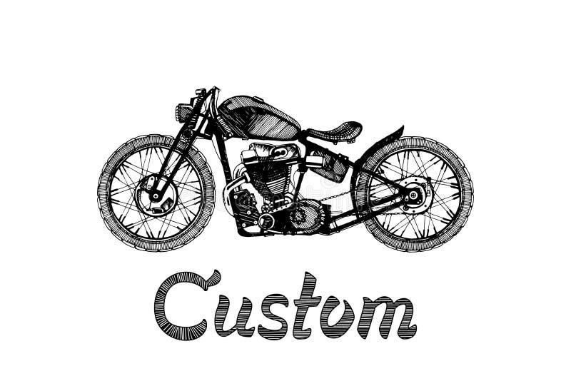 Hand-målad motorcykel och bokstäver royaltyfri illustrationer