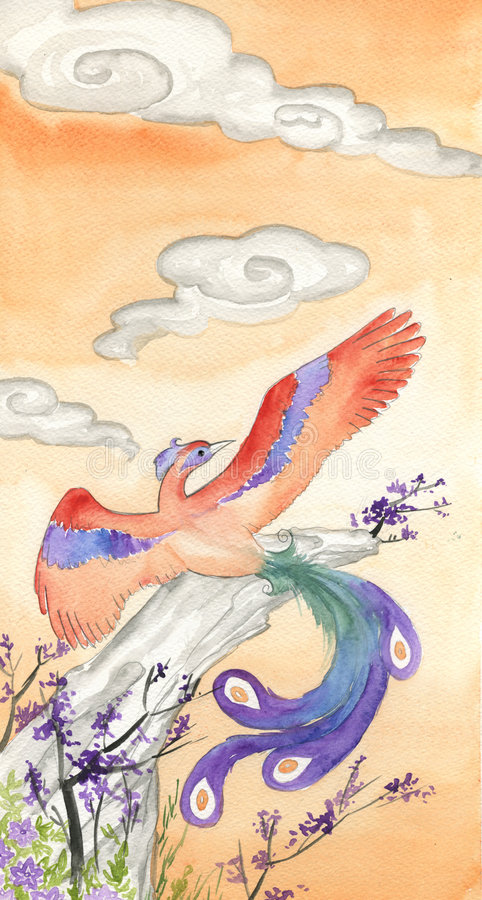 hand målad phoenix vattenfärg royaltyfri illustrationer