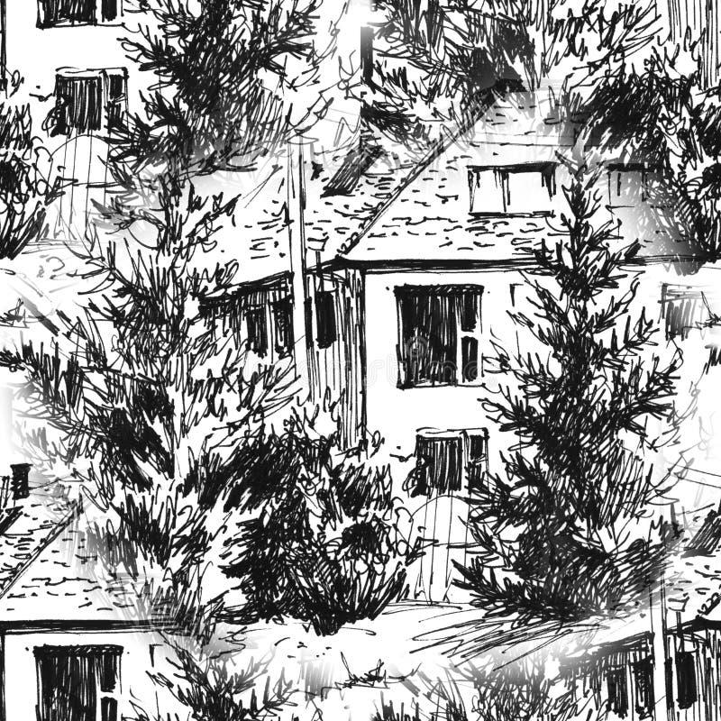 Hand målad sömlös modell Urban landskap i den drog handen ink linjen stil Den gamla stadsgatan skissar på vit bakgrund royaltyfri illustrationer