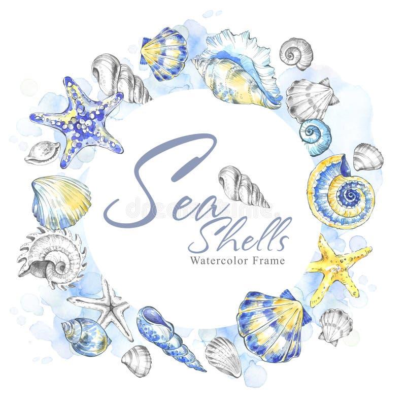 Hand målad snäckskalcirkelram Dekorativ sommarbakgrund för vattenfärg Original- hand dragen illustration flotta stock illustrationer