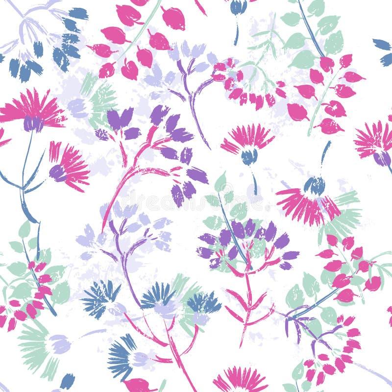 Hand målad texturerad blom- sömlös modell royaltyfri illustrationer