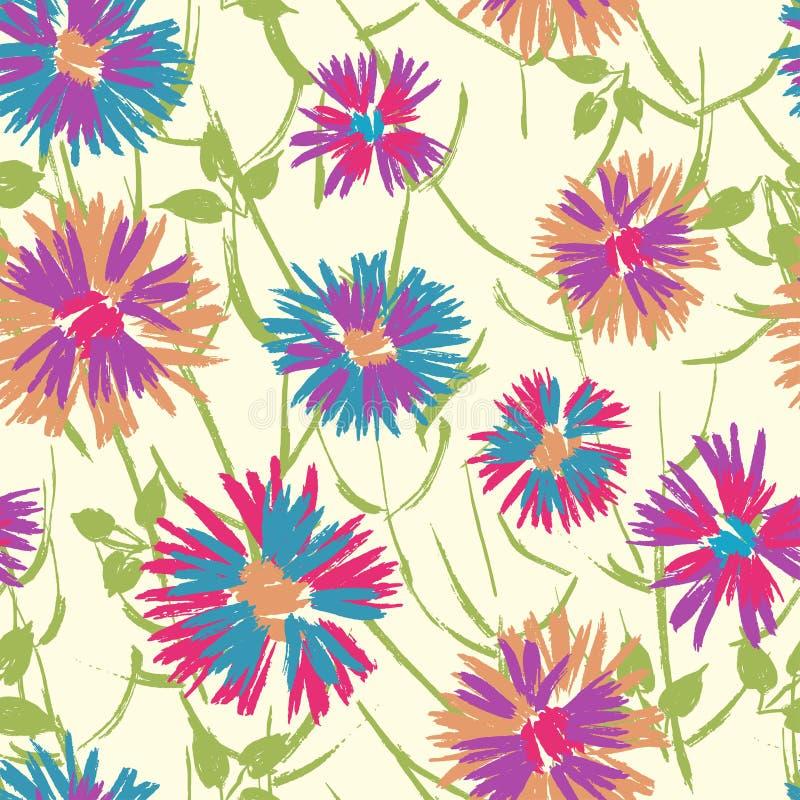 Hand målad texturerad gladlynt blom- sömlös modell royaltyfri illustrationer