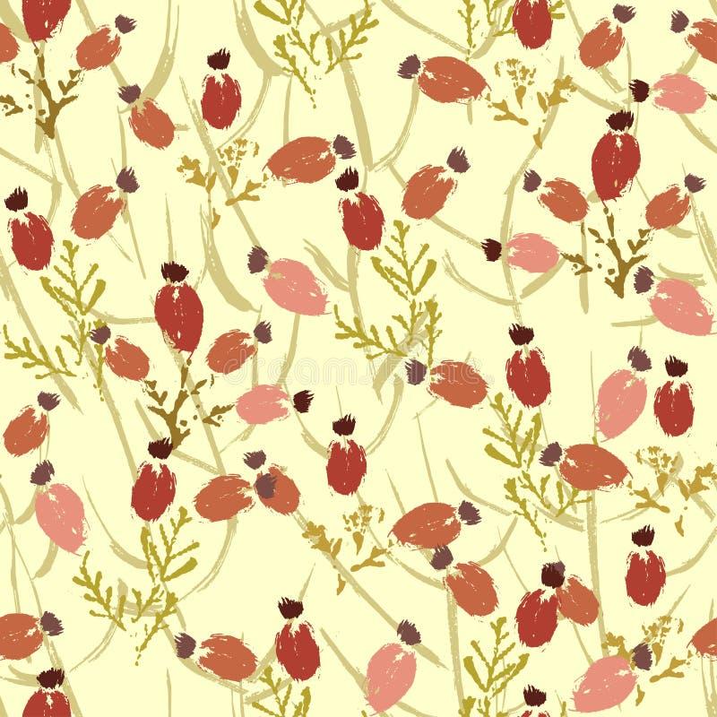 Hand målad texturerad sömlös modell för skogbär stock illustrationer